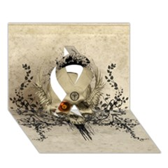 Awesome Skull With Flowers And Grunge Ribbon 3d Greeting Card (7x5) by FantasyWorld7