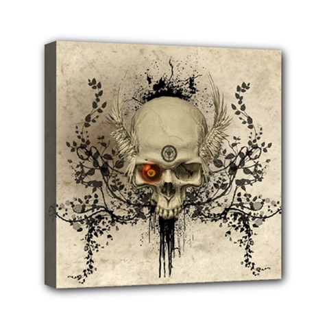 Awesome Skull With Flowers And Grunge Mini Canvas 6  X 6  by FantasyWorld7