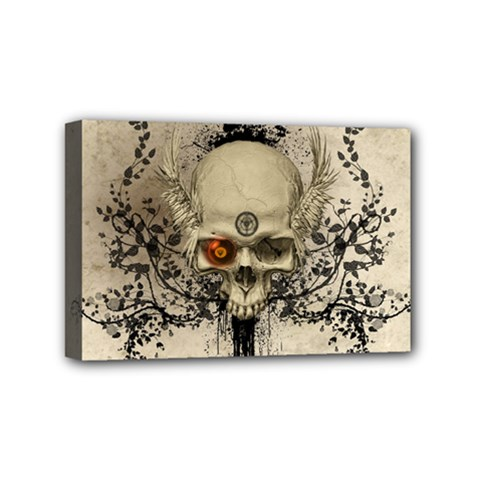 Awesome Skull With Flowers And Grunge Mini Canvas 6  X 4  by FantasyWorld7