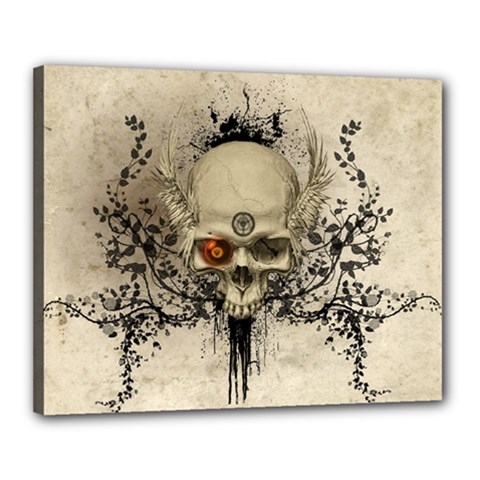 Awesome Skull With Flowers And Grunge Canvas 20  X 16  by FantasyWorld7