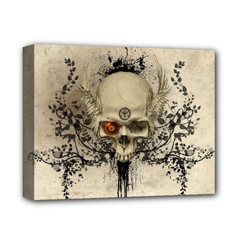 Awesome Skull With Flowers And Grunge Deluxe Canvas 14  X 11  by FantasyWorld7