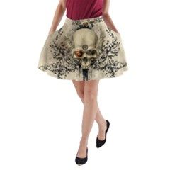 Awesome Skull With Flowers And Grunge A-line Pocket Skirt by FantasyWorld7