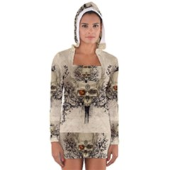 Awesome Skull With Flowers And Grunge Women s Long Sleeve Hooded T Shirt by FantasyWorld7