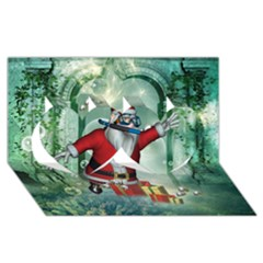 Funny Santa Claus In The Underwater World Twin Hearts 3d Greeting Card (8x4) by FantasyWorld7