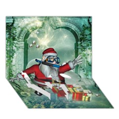Funny Santa Claus In The Underwater World Love Bottom 3d Greeting Card (7x5) by FantasyWorld7