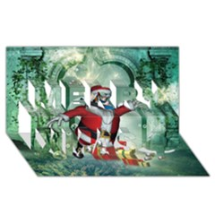 Funny Santa Claus In The Underwater World Merry Xmas 3d Greeting Card (8x4) by FantasyWorld7