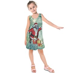 Funny Santa Claus In The Underwater World Kids  Sleeveless Dress by FantasyWorld7