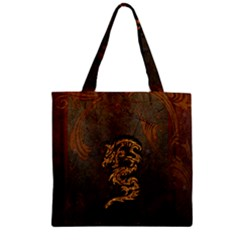Awesome Dragon, Tribal Design Zipper Grocery Tote Bag
