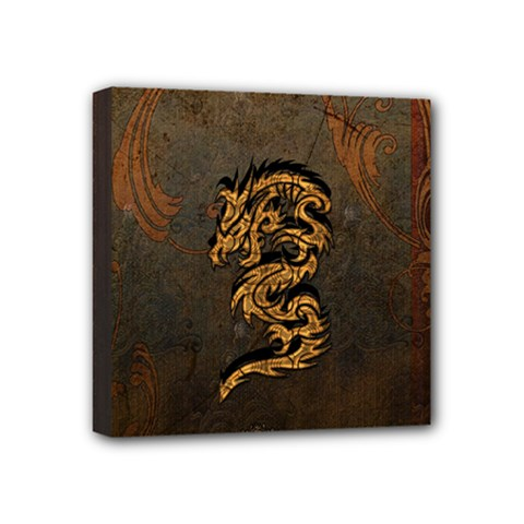 Awesome Dragon, Tribal Design Mini Canvas 4  X 4  by FantasyWorld7