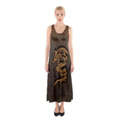 Awesome Dragon, Tribal Design Sleeveless Maxi Dress by FantasyWorld7