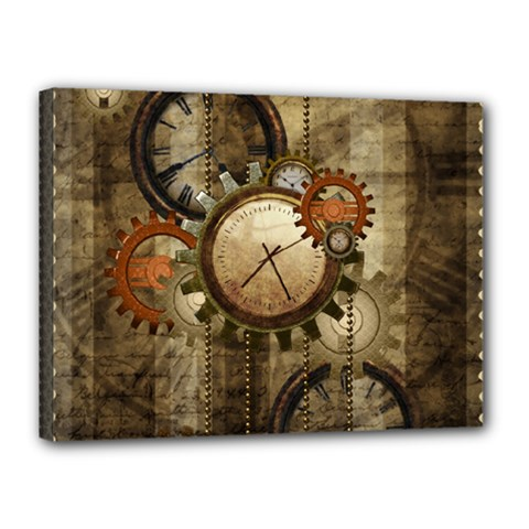 Wonderful Steampunk Design With Clocks And Gears Canvas 16  X 12  by FantasyWorld7