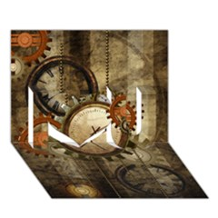 Wonderful Steampunk Design With Clocks And Gears I Love You 3d Greeting Card (7x5) by FantasyWorld7