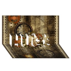 Wonderful Steampunk Design With Clocks And Gears Hugs 3d Greeting Card (8x4)