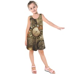 Wonderful Steampunk Design With Clocks And Gears Kids  Sleeveless Dress