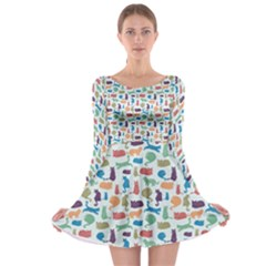 Blue Colorful Cats Silhouettes Pattern Long Sleeve Skater Dress