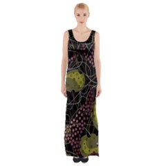 Abstract Garden Maxi Thigh Split Dress by Valentinaart