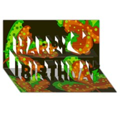 Autumn Leafs Happy Birthday 3d Greeting Card (8x4) by Valentinaart