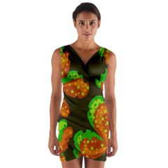 Autumn Leafs Wrap Front Bodycon Dress by Valentinaart