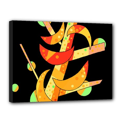 Orange Moon Tree Canvas 16  X 12  by Valentinaart