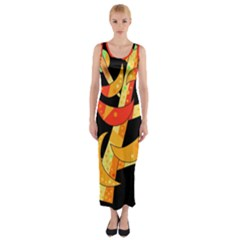 Orange Moon Tree Fitted Maxi Dress by Valentinaart
