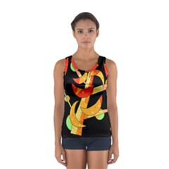 Orange Moon Tree Women s Sport Tank Top  by Valentinaart