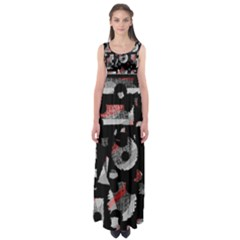 Red Shadows Empire Waist Maxi Dress by Valentinaart