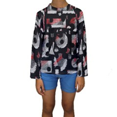 Red Shadows Kids  Long Sleeve Swimwear