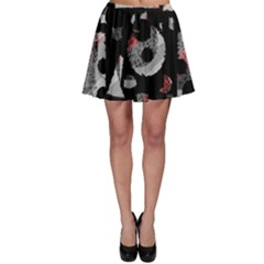 Red Shadows Skater Skirt by Valentinaart
