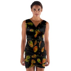 Floral Abstraction Wrap Front Bodycon Dress by Valentinaart