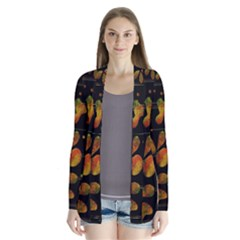 Floral Abstraction Drape Collar Cardigan by Valentinaart