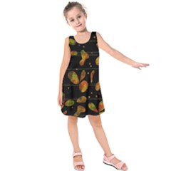 Floral Abstraction Kids  Sleeveless Dress by Valentinaart
