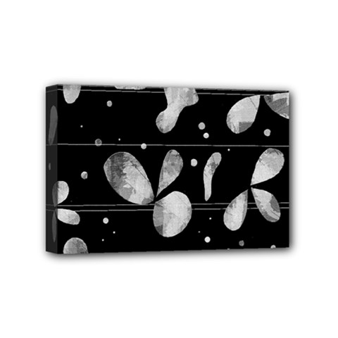 Black And White Floral Abstraction Mini Canvas 6  X 4  by Valentinaart