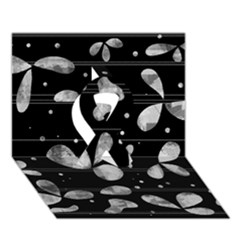 Black And White Floral Abstraction Ribbon 3d Greeting Card (7x5) by Valentinaart