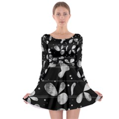 Black And White Floral Abstraction Long Sleeve Skater Dress