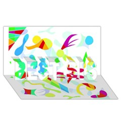 Playful Shapes Best Sis 3d Greeting Card (8x4) by Valentinaart