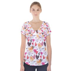 Colorful Cute Hearts Pattern Short Sleeve Front Detail Top