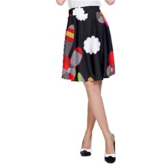 Playful Airplanes  A-line Skirt by Valentinaart
