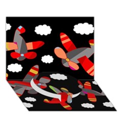 Playful Airplanes  Circle Bottom 3d Greeting Card (7x5) by Valentinaart
