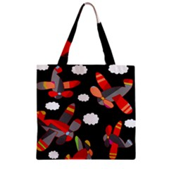 Playful Airplanes  Zipper Grocery Tote Bag by Valentinaart