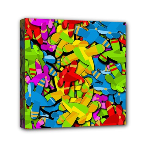 Colorful Airplanes Mini Canvas 6  X 6  by Valentinaart