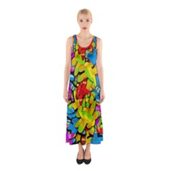 Colorful Airplanes Sleeveless Maxi Dress
