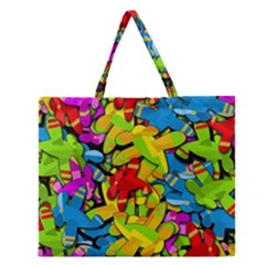 Colorful Airplanes Zipper Large Tote Bag by Valentinaart