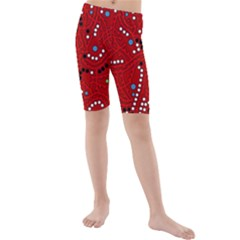 Red Fantasy Kids  Mid Length Swim Shorts