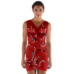 Red Fantasy Wrap Front Bodycon Dress