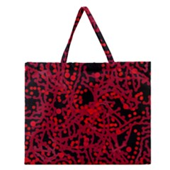 Red Emotion Zipper Large Tote Bag by Valentinaart