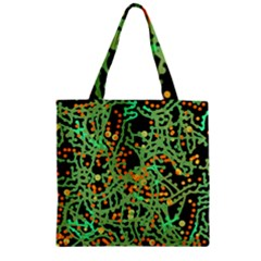 Green Emotions Zipper Grocery Tote Bag by Valentinaart