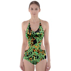 Green Emotions Cut-out One Piece Swimsuit by Valentinaart