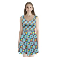 Shapes In Squares Pattern                         Split Back Mini Dress by LalyLauraFLM