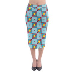 Shapes In Squares Pattern                                                                                                              Midi Pencil Skirt