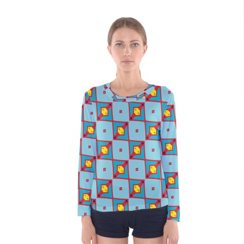 Shapes In Squares Pattern                                                                                                            Women Long Sleeve T-shirt by LalyLauraFLM